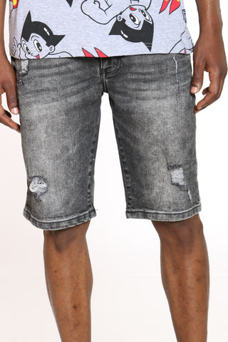 Men's Ripped Denim Short - Light Grey