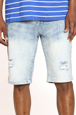 Men's Ripped Denim Short - Light Sand Blue