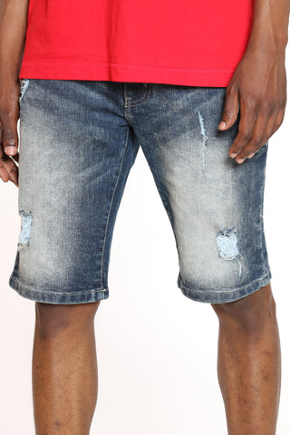 Men's Ripped Denim Short - Sand Rust