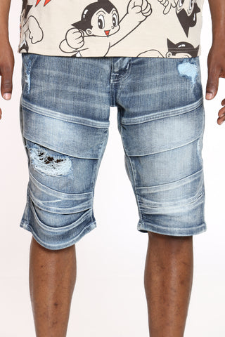 Men's Moto & Ripped Denim Short - Ice Blue