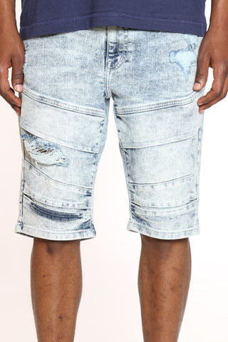 Men's Moto & Ripped Denim Short - Light Sand Blue