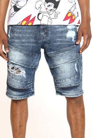 Men's Moto & Ripped Denim Short - Medium Sand Blue