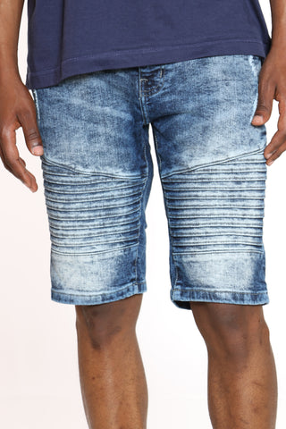 Men's Moto & Ripped Denim Short - Dark Blue