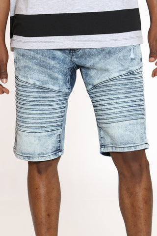 Men's Moto & Ripped Denim Short - Medium Blue