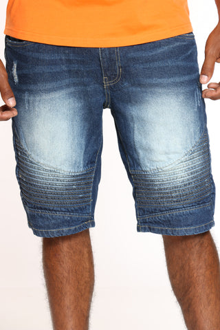 Men's Non Stretch Moto Short - Dark Blue-VIM.COM