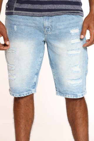 Men's Ripped Non Stretch Short - Light Blue-VIM.COM