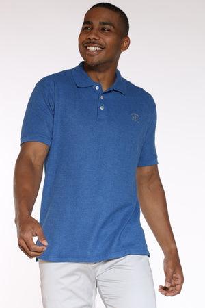 Men's Heather Polo Shirt - Cayman Blue-VIM.COM