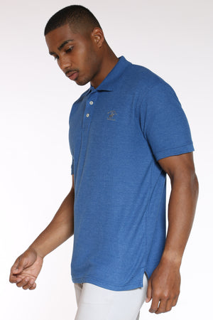 Men's Heather Polo Shirt - Cayman Blue