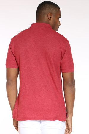 Men's Heather Polo Shirt - Red Alert