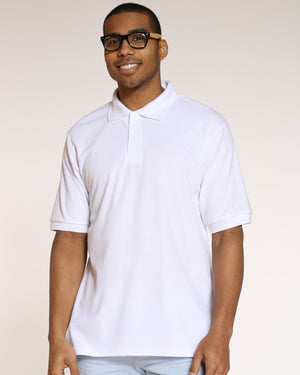 Men's Pique 3 Buttons Polo Shirt - White-VIM.COM