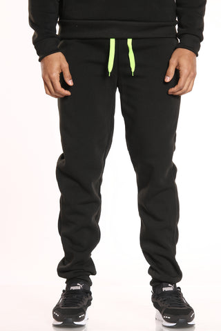 Men's Green Trim Fleece Jogger - Black-VIM.COM