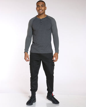 Men's Darius Solid Cargo Pocket Fleece Jogger - Black