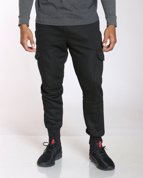 Men's Darius Solid Cargo Pocket Fleece Jogger - Black-VIM.COM