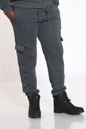 Men's Sherpa Lined Cargo Jogger - Charcoal-VIM.COM