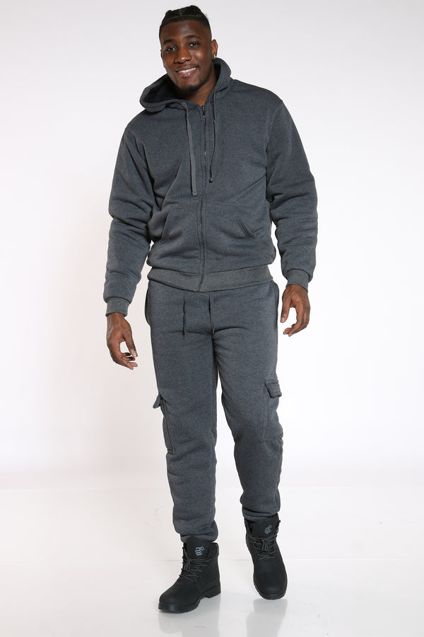 Men's Sherpa Lined Cargo Jogger - Charcoal