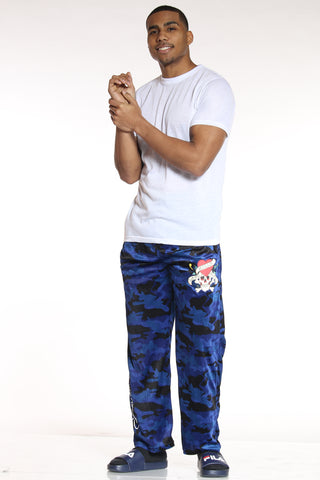 Men's Ed Hardy Camo Plush Pant - Dark Blue-VIM.COM