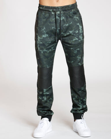Green Camo Moto Faux Leather Jogger