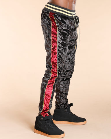 MEN'S SIDE STRIPE VELVET JOGGER - VIM - BLACK RED