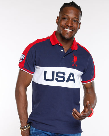Navy Usa Colorblock Us Polo Shirt