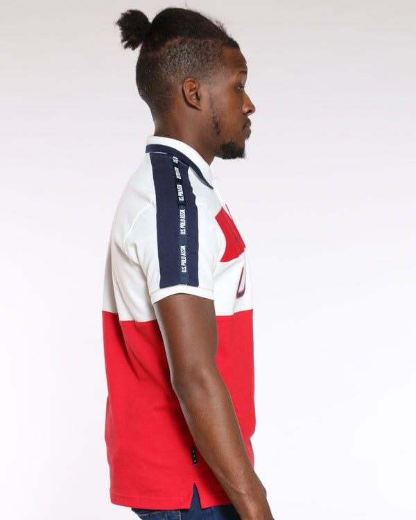 Men's Color Block Collared Polo Shirt - Winter White