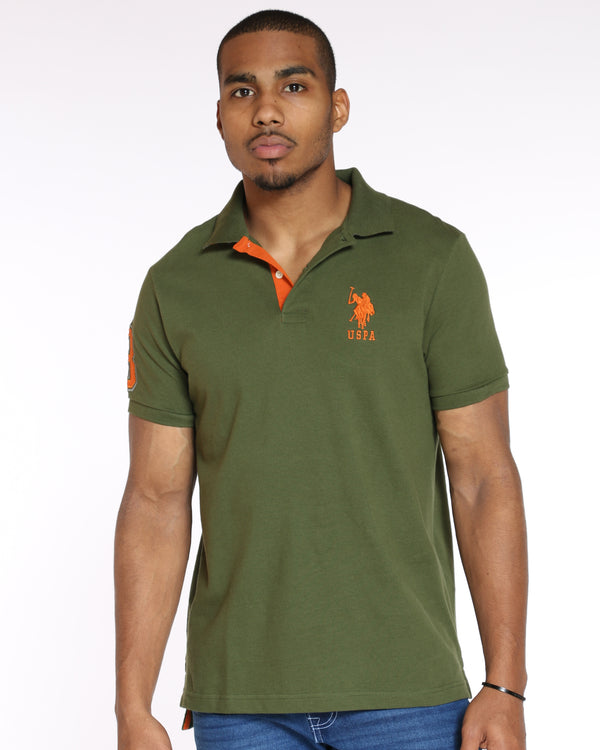 U.S. POLO ASSN.-Men's Us Polo Slim Fit Stripe Collar Tee - Riffle Green-VIM.COM