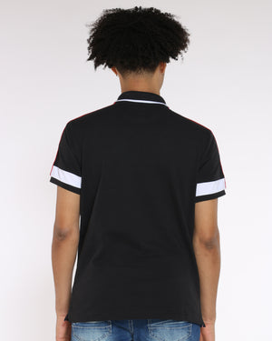 Men's Color Block Collared Shirt - Black