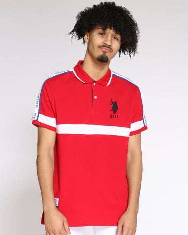 Men's Color Block Collared Shirt - Red