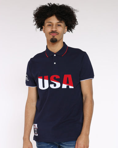 Men's USA Collared Shirt - Navy