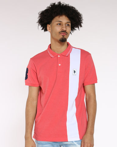 Men's Patch Polo Collared Shirt - Coral Shell