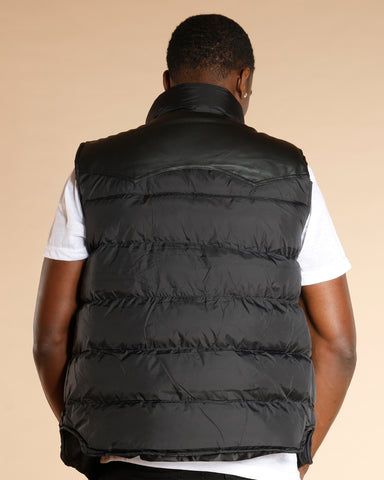 Quilted Leather Trim Vest
