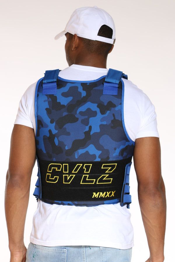 Men's Cvlz Faux Patches Vest - Royal Camo