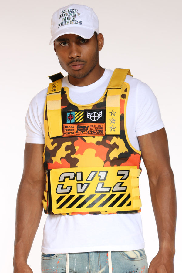 Men's Cvlz Faux Patches Vest - Yellow Camo-VIM.COM
