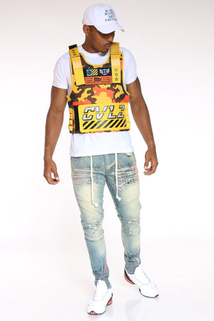 Men's Cvlz Faux Patches Vest - Yellow Camo