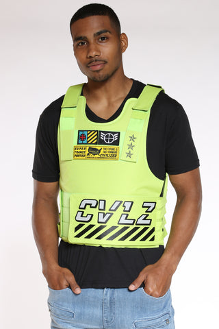 Men's Cvlz Faux Patches Vest - Lime-VIM.COM