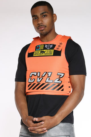 Men's Cvlz Faux Patches Vest - Orange-VIM.COM