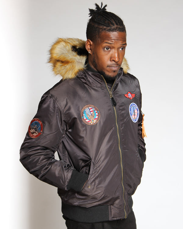 Men's Ma 1 Snorkel Patches Jacket - Black-VIM.COM