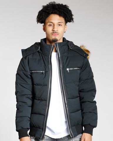 VIM Men'S Three Zip Look Fur Hood Jacket - Vim.com