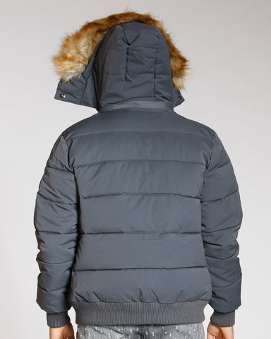 Men'S Three Zip Look Fur Hood Jacket