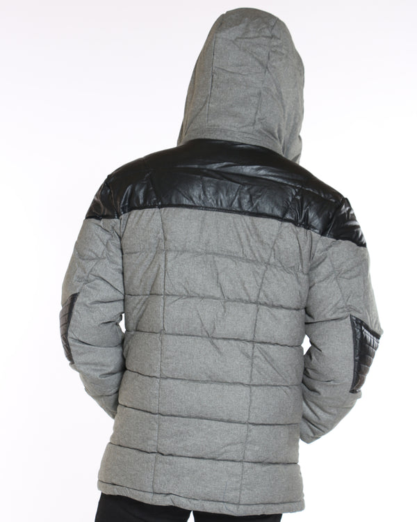 VIM Heavy Western Pu Leather Trim Jacket - Dark Grey - Vim.com