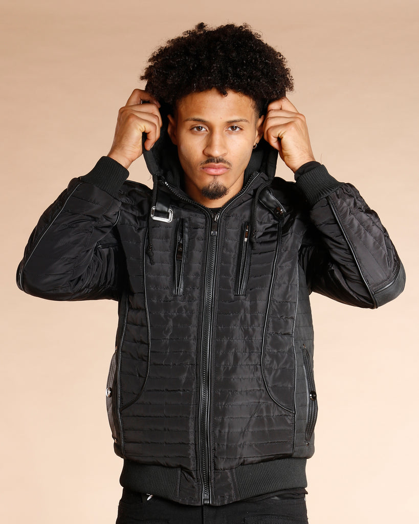 Men'S Zipper Moto Leather Trim Jacket