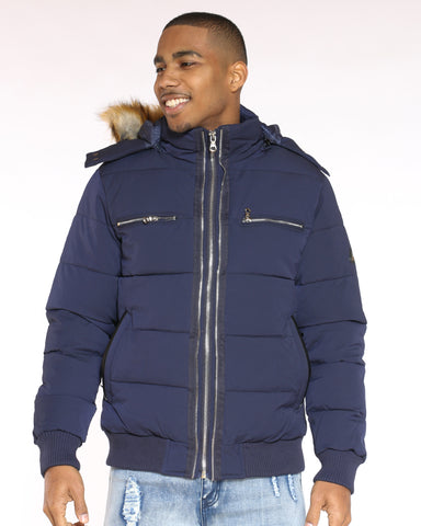 Men's Marty Three Zip Look Fur Hood Jacket - Navy-VIM.COM