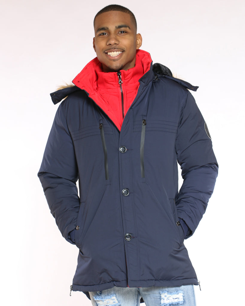 Danny Heavy Parka Fur Hood Jacket - Navy