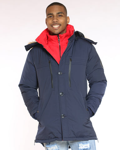 Men's Danny Heavy Parka Fur Hood Jacket - Navy-VIM.COM