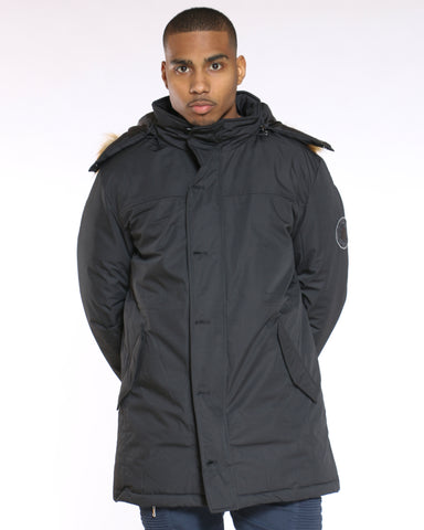 Men's Long Parka Arm Patch Fur Hood Jacket - Black-VIM.COM