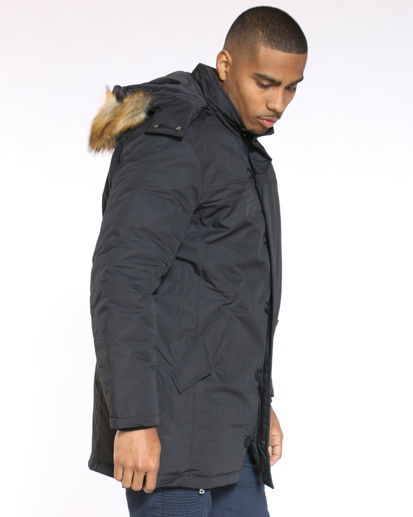 Long Parka Arm Patch Fur Hood Jacket - Black
