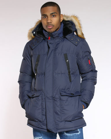 Men's Heavy Down Bubble Jacket - Navy-VIM.COM
