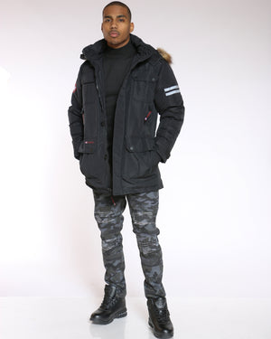 Men's Canada Long Parka Hood Jacket - Black