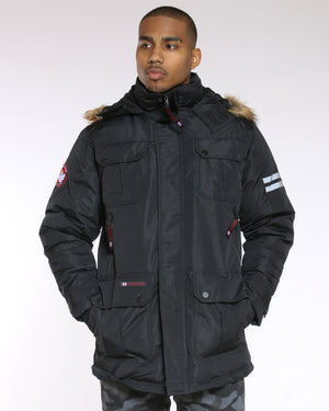 Men's Canada Long Parka Fur Hood Jacket - Black-VIM.COM