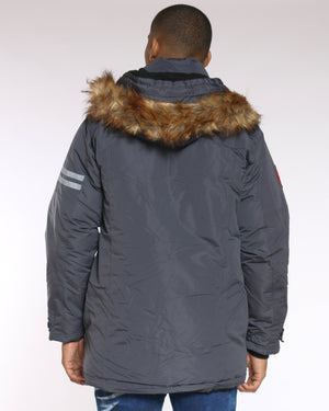 Men's Canada Long Parka Fur Hood Jacket - Charcoal