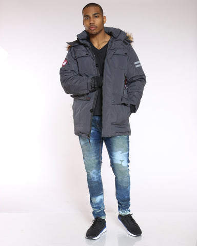 Men's Canada Long Parka Fur Hood Jacket - Charcoal-VIM.COM